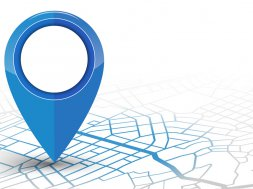GPS navigator pin checking red color on white background. vector illustration